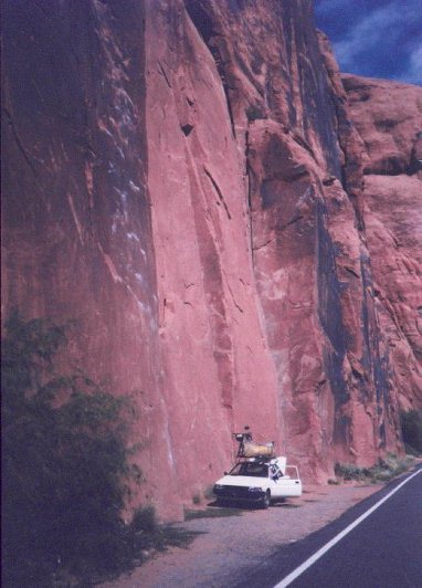 Rock Climbing; Spider Wall just outside Moab, Utah